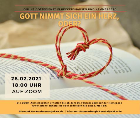 Zoom Gottesdienst: Gott nimmt sich ein Herz, oder?