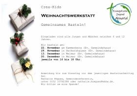 Herzliche Einladung zu den Weihnachts-Bastelwerkstätten der Crea-Kids