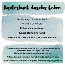 """Einladung zur Online-Veranstaltung: """"Erste Hilfe am Kind"""" am 28.01.2021"""